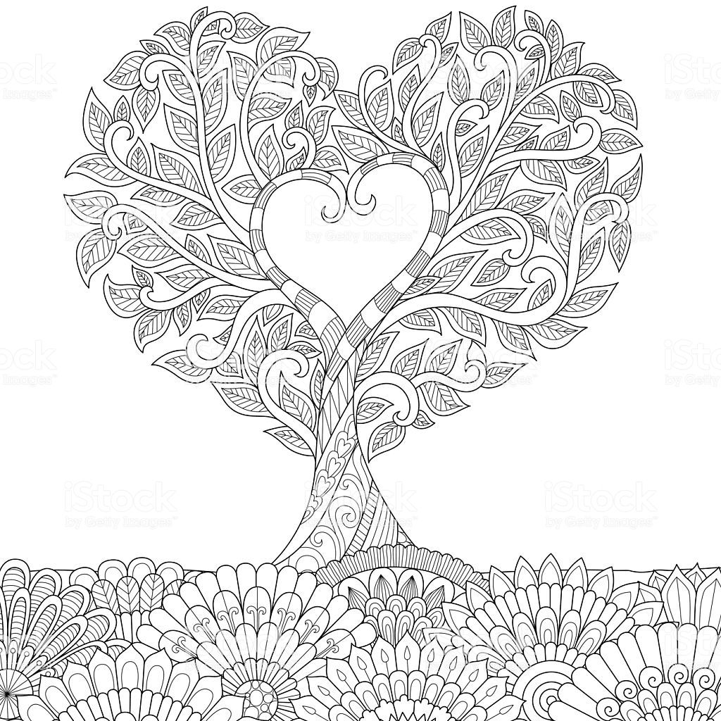 Flowers In Heart Shape On Floral Ground Line Art Design For Coloring Line Art Design Love Coloring Pages Coloring Books [ 1024 x 1024 Pixel ]