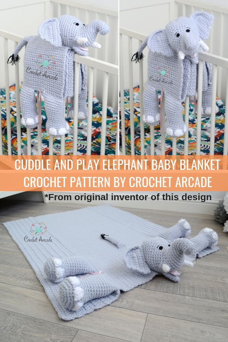 Cuddle and Play Elephant Baby Blanket Crochet Pattern #cuddleandplayelephantbabyblanketcrochetpatter