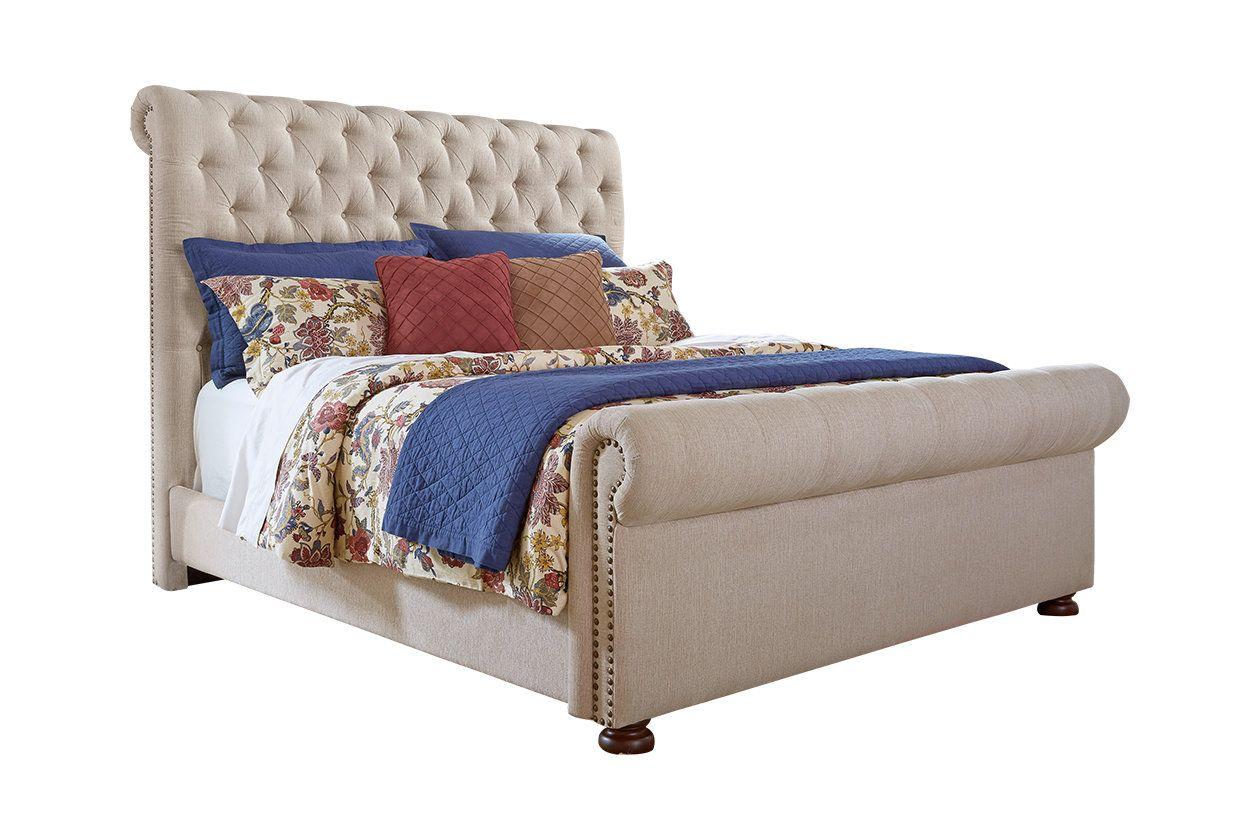 Windville King Upholstered Sleigh Bed Ashley Furniture Homestore