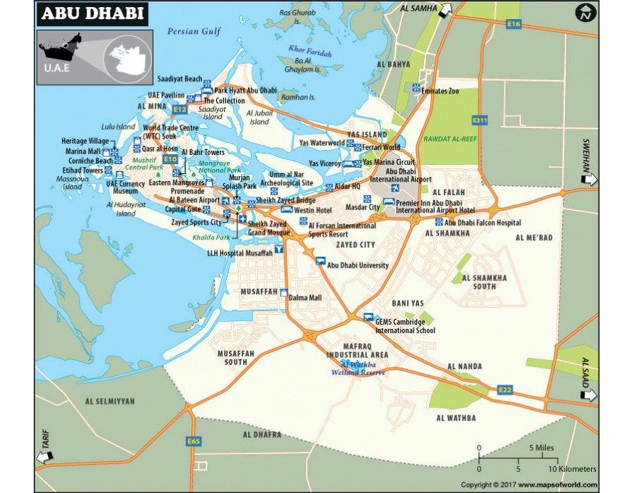 Abu Dhabi Map | #store mapsofworld | Pinterest | Abu Dhabi, Uae and ...