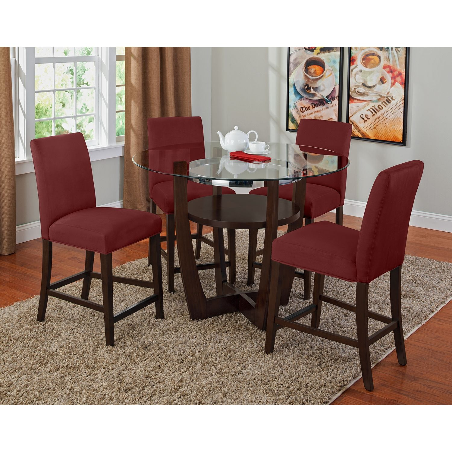 Dining Room Furniture  Alcove Red Ii 5 Pcdinette  Breakfast Mesmerizing Counter Height Dining Room Decorating Inspiration