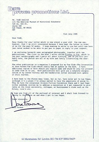 Dave Prowse Typed Letter Signed 07311985 ** More details can be