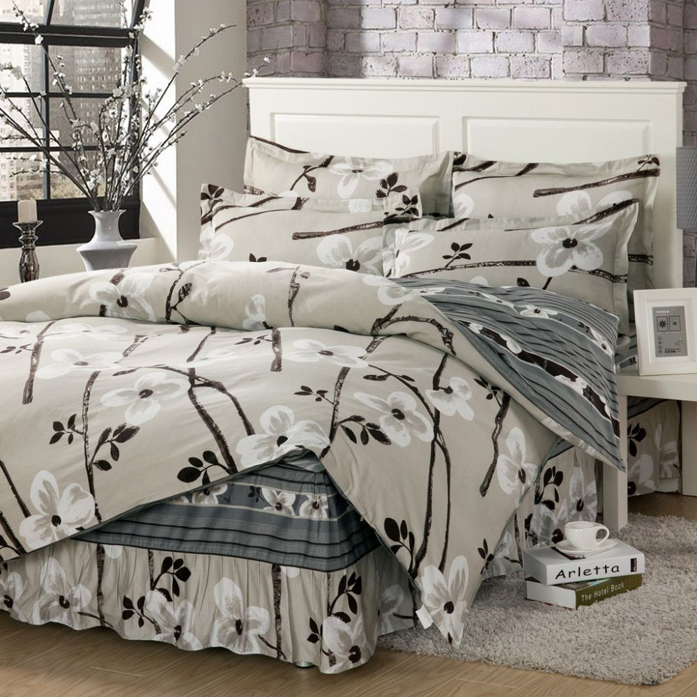100% Cotton Gray Color Bedding Fitted Type, King Size Bedskirt Type Bed  Sheet Set