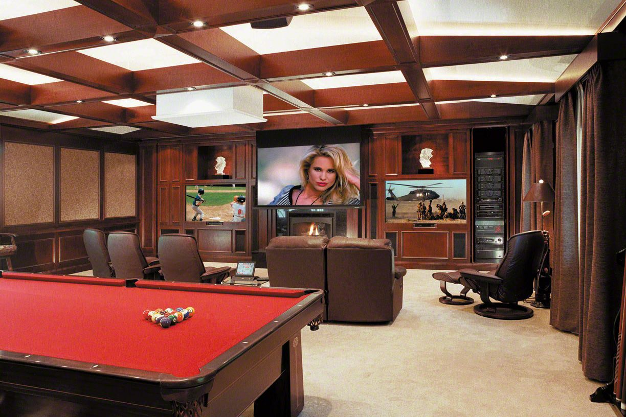 Open Space Billiard Room With Multiple TVs Big TVs in