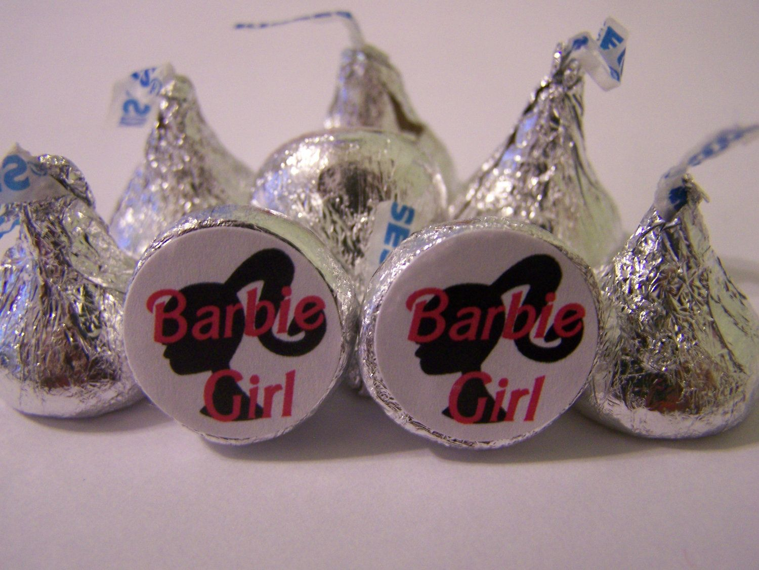 BARBIE GIRL - Hershey Kisses - 108 self-advesive stickers - Labels Only - Personalized favors Personalized party favors. $7.99, via Etsy.