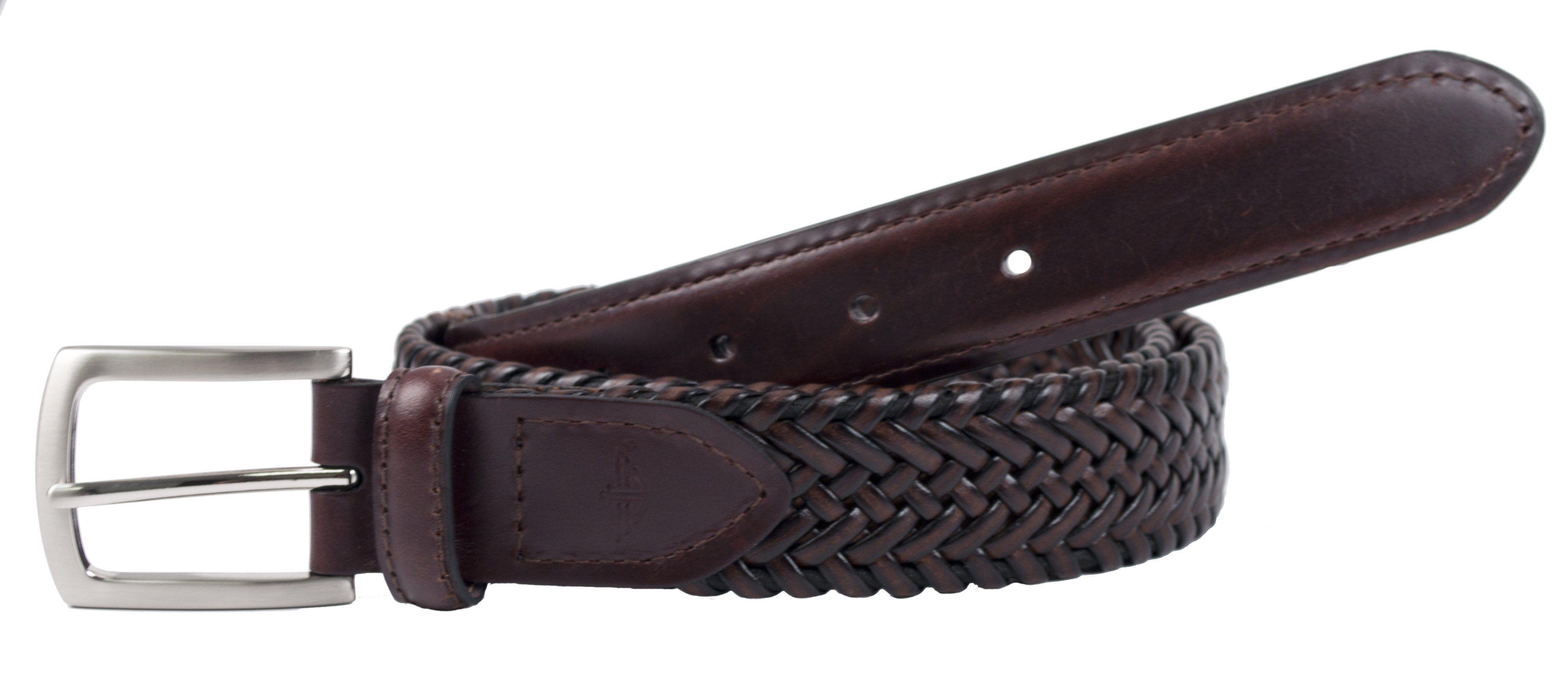 Dockers Men's Tubular Leather Stretch Belt Braided belt