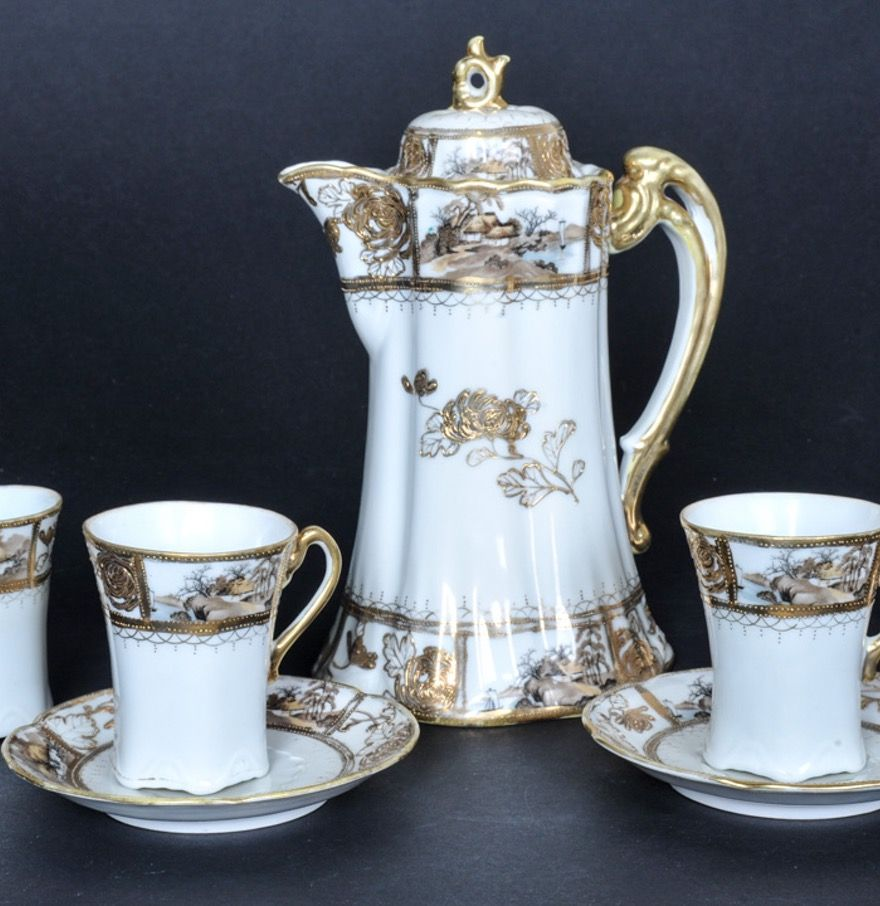 The Yamato Nippon China Coffee Pot with Cups and Saucers | Coffee ...