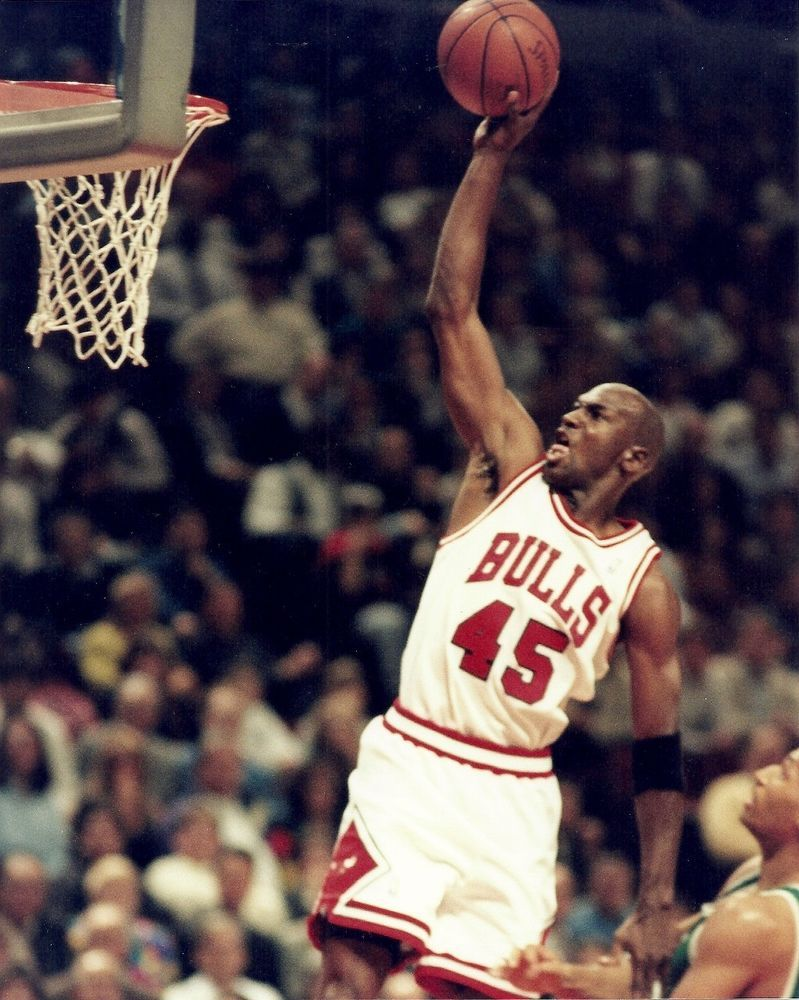b9c96907649 MICHAEL JORDAN 8x10 SLAM DUNK Vintage NBA Game Photo in #45 Jersey CHICAGO  BULLS #ChicagoBulls