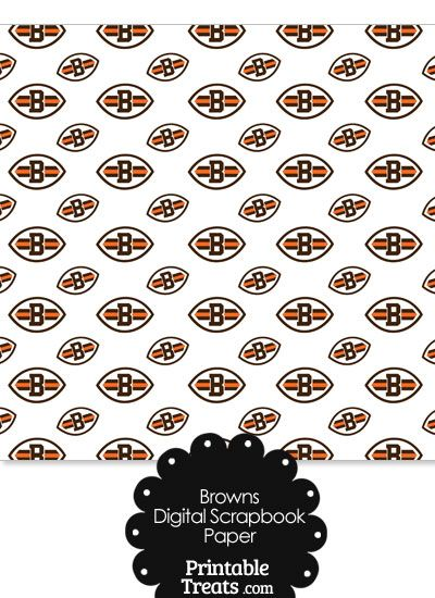 Cleveland Browns Logo Digital Paper with White Background from