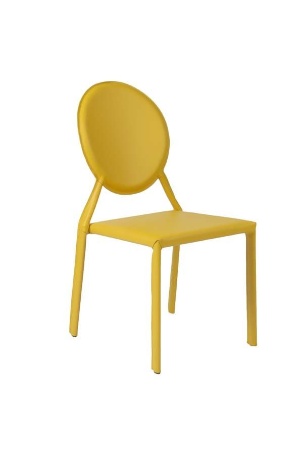 """Fully-upholstered in bonded leather Steel frame Stacking Fully assembled Available in counter and bar height More colors Seat height 18"""" ,ISABELLA SIDE CHAIR in Yellow Leather (Set of 2), Euro Style, Contemporary, Chair, Dining"""