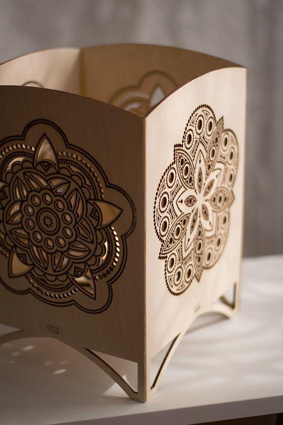 Laser Cut Tabletop Lantern   Mandala Night Light   Accent Lamp   Geometric  Art