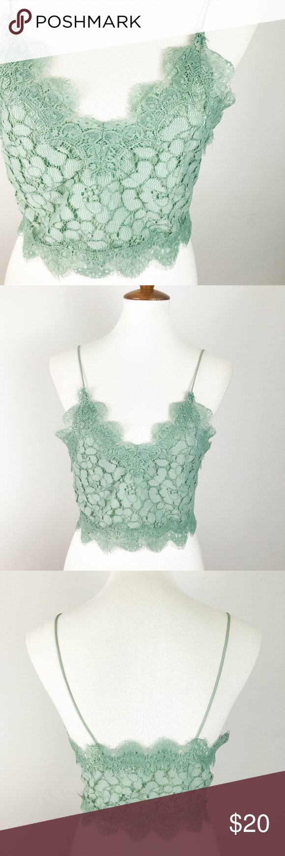 H&m green lace dress  HuM Bralette Crop Top Size  Green Lace Fitted
