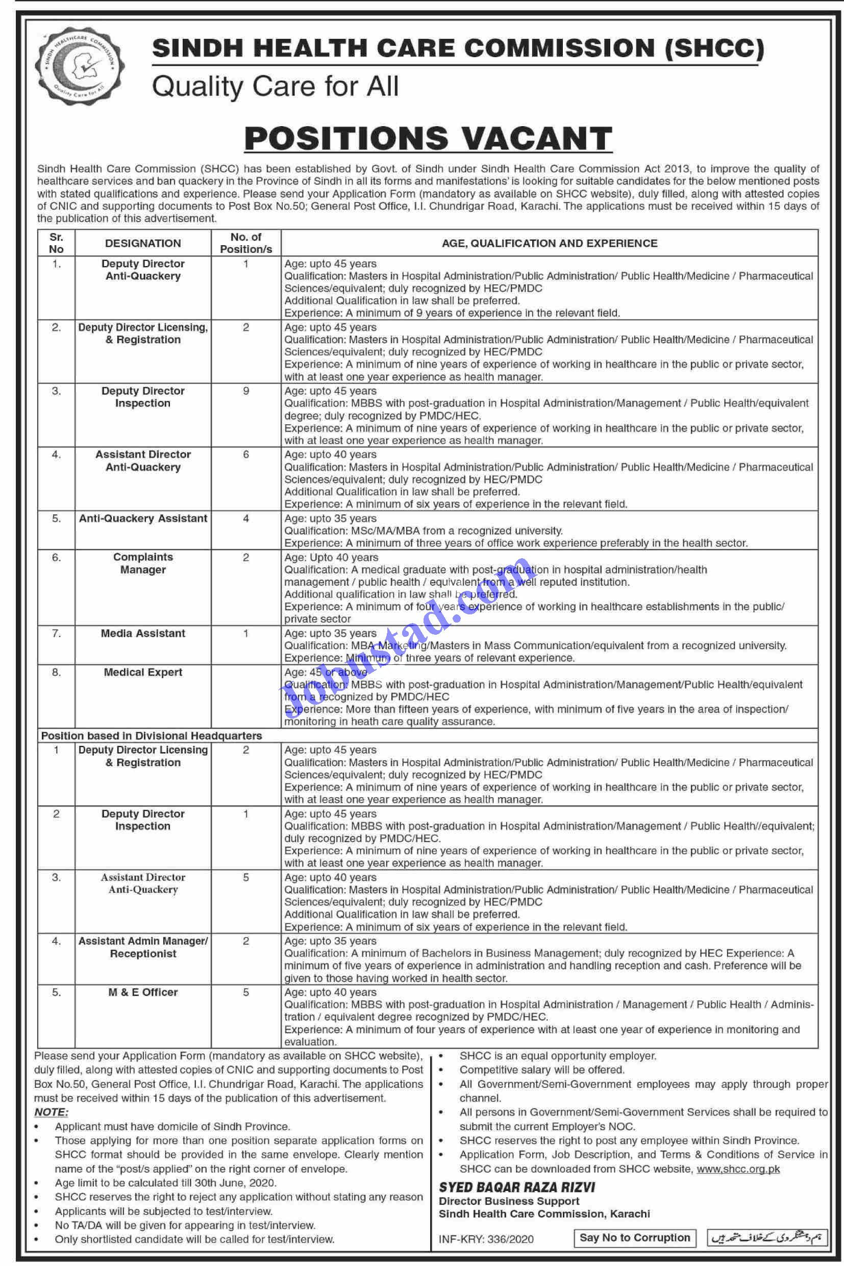 Sindh Health Care Commission SHCC has announced the Jobs
