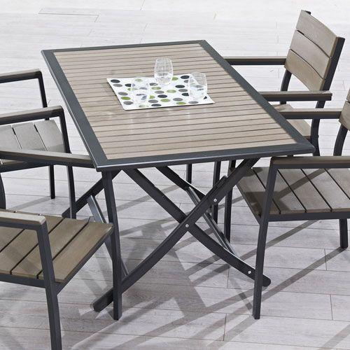 Table de jardin pliante 140 cm en aluminium et composite Horizon ...
