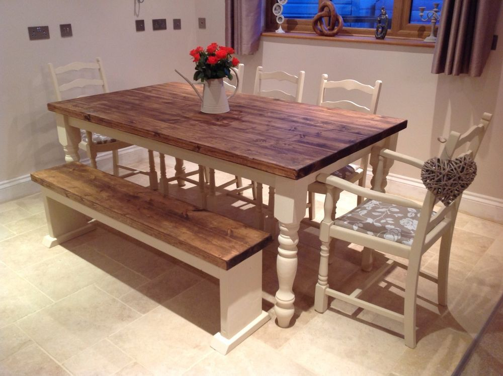 Rustic Farmhouse Shabby Chic Solid 8 Seater Dining Table Bench And 6 Chairs In Home