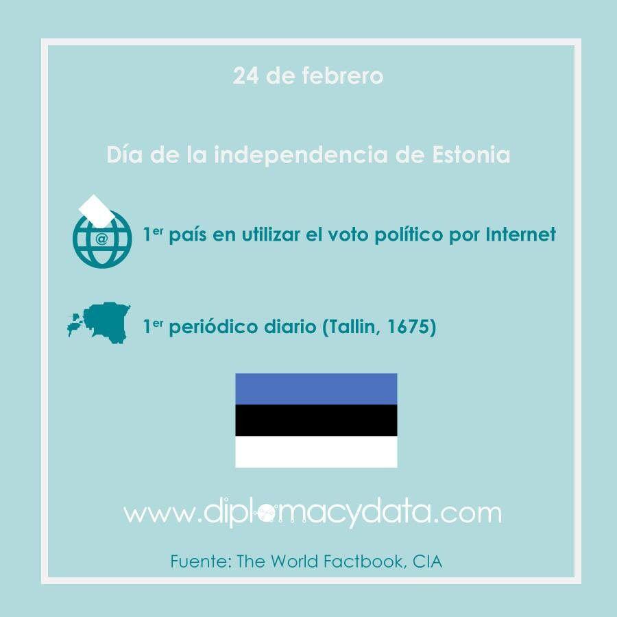 Es el primer país del mundo en utilizar el voto político por Internet, y el primer periódico diario fue publicado en Tallin en 1675. ¡Feliz día de la independencia #Estonia! #diplomacydata