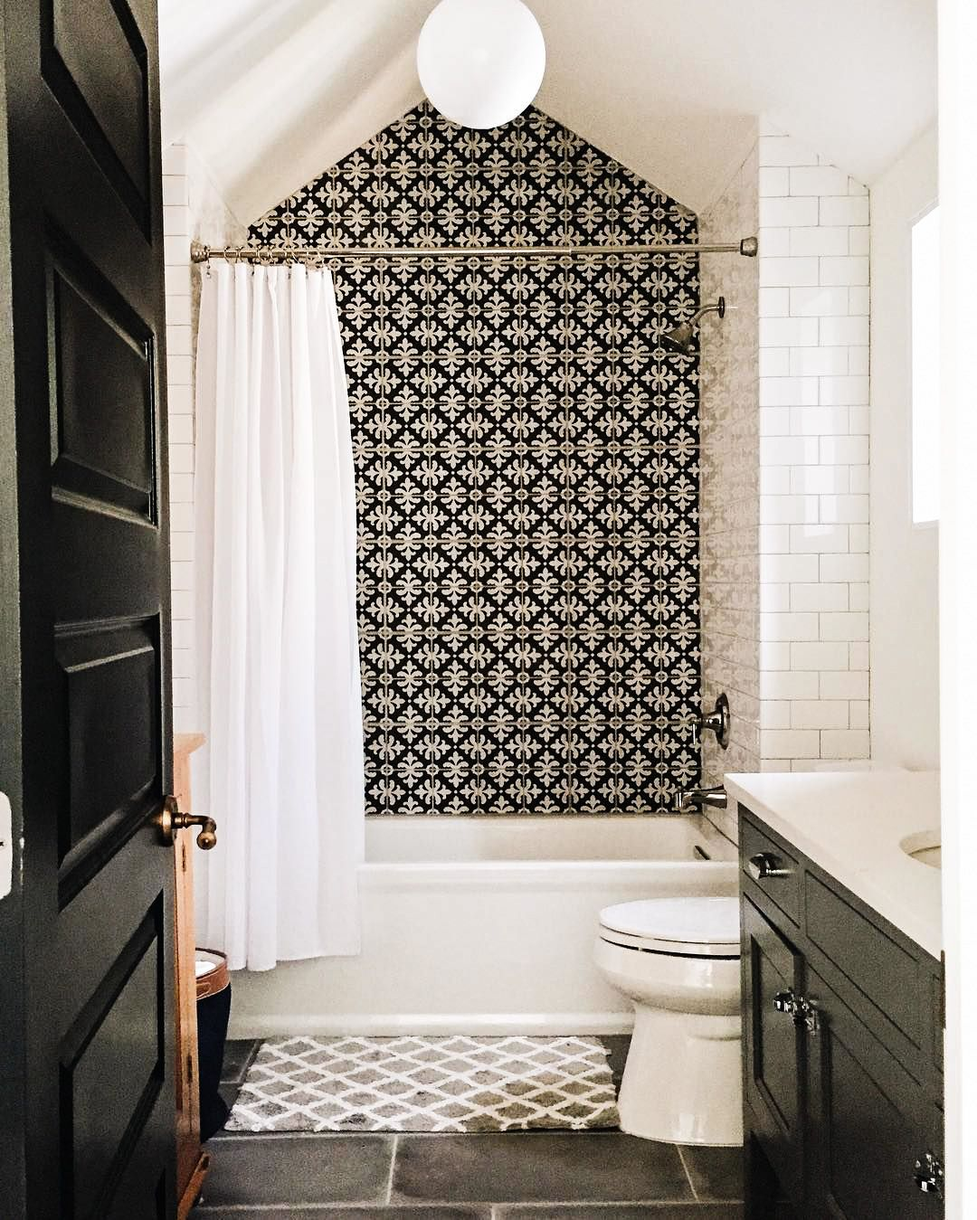 Beautiful black and white bathroom with a cathedral tub ceiling beautiful black and white bathroom with a cathedral tub ceiling what the what 3 dailygadgetfo Image collections