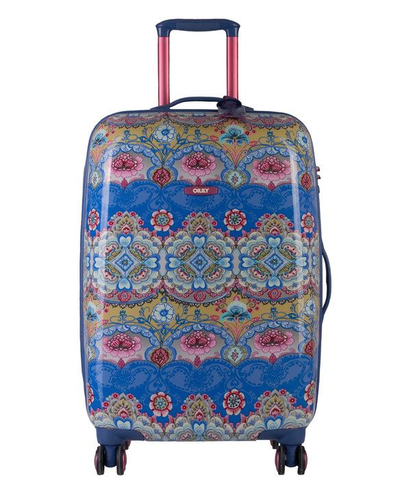 The pattern and colors on this are mesmerizing. Look at this Blue Arabesque Hard-Top Carry-On Spinner on #zulily today!