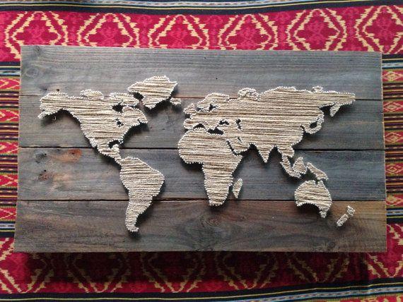 World Map String Art | do this, now! | Pinterest | String art, Etsy ...