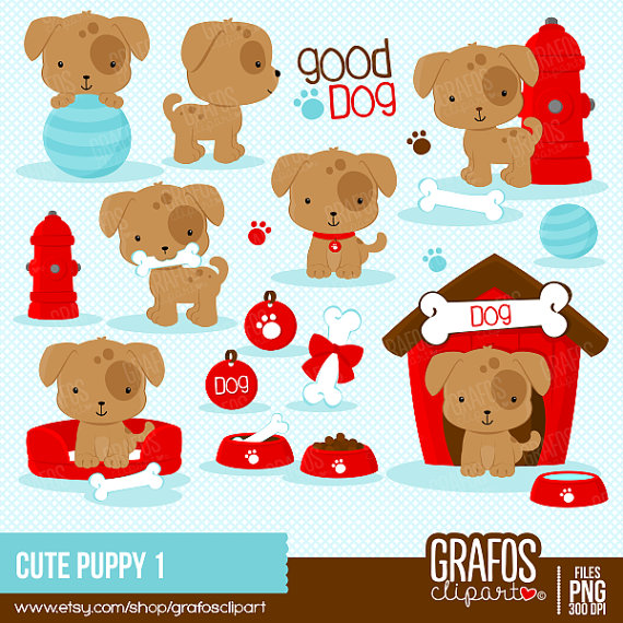 Cute Puppy 1 Digital Clipart Set Puppy Clipart Dog Clipart Pets