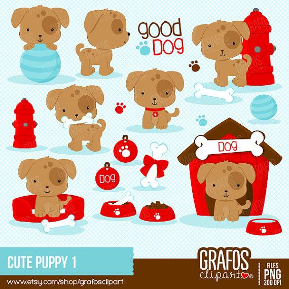 CUTE PUPPY 1 - Digital Clipart Set, Puppy Clipart, Dog Clipart ...