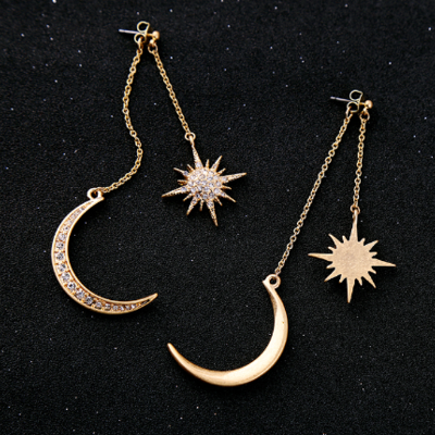 Celestial Star Shower Necklace Moon Star Galaxy Moon Star