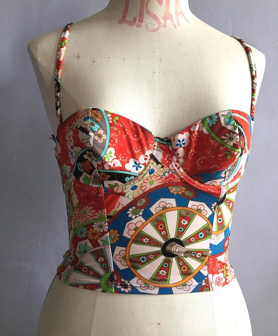 bb9f765ce3c Vintage CHRISTIAN DIOR bustier Asian fan print corset oriental  dior   christiandior  bustier  diorlingerie  asianprint  corset