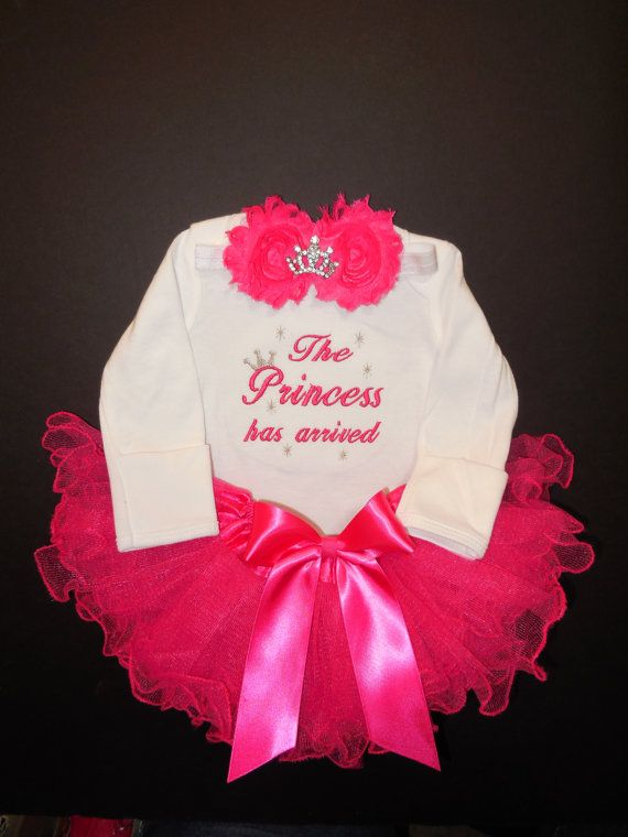 074d5e1cf12 The Princess has arrived embroidered newborn baby girl outfit infant tutu  bow headband rhinestone tiara coming home from the hospital outfit.