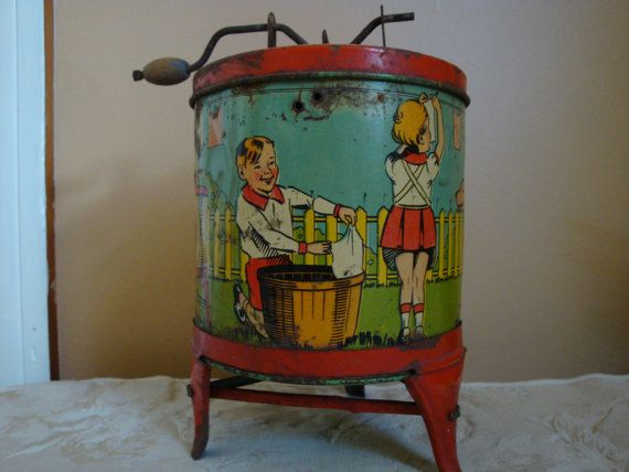 Antique Tin Lithographed Toy Washing Machine by AzemiasAttic, $48.00
