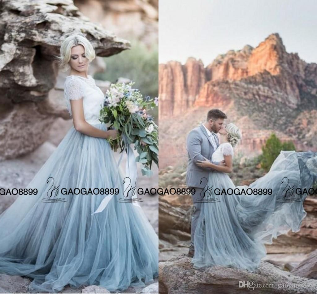 Sky blue modest tulle country wedding dresses lace jewel neck