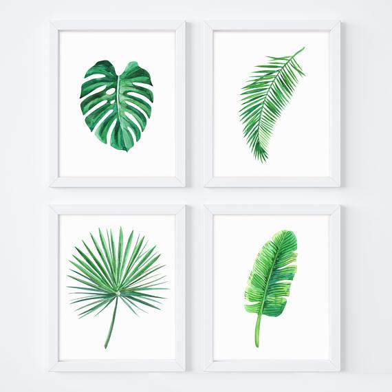 Tropical Leaf Print Monstera Banana Leaves Yoga Poster