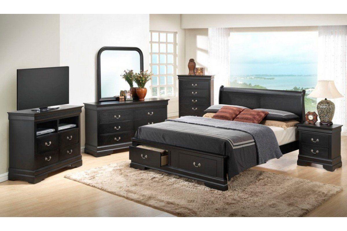 All Black Bedroom Set Dawson Black Queen Size Storage Bedroom Set
