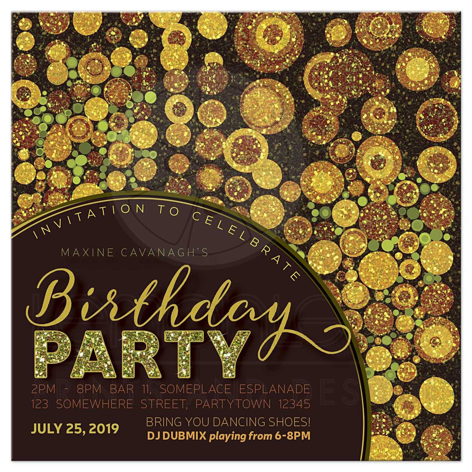 Sparkle Grunge Adult Birthday Party Invitation Adult birthday