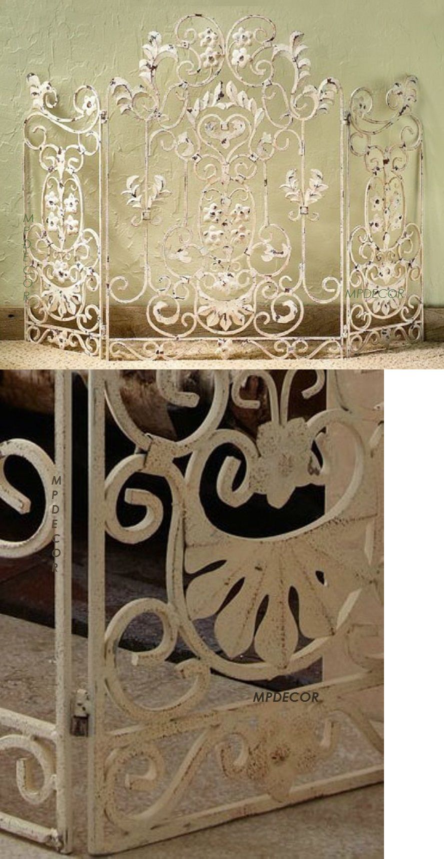 fireplace screens and doors 38221 french country scroll floral