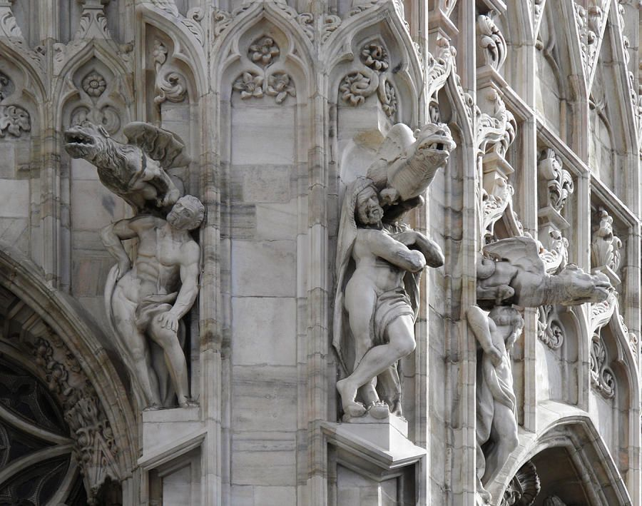 Gothic Cathedral Statues Gargoyles A