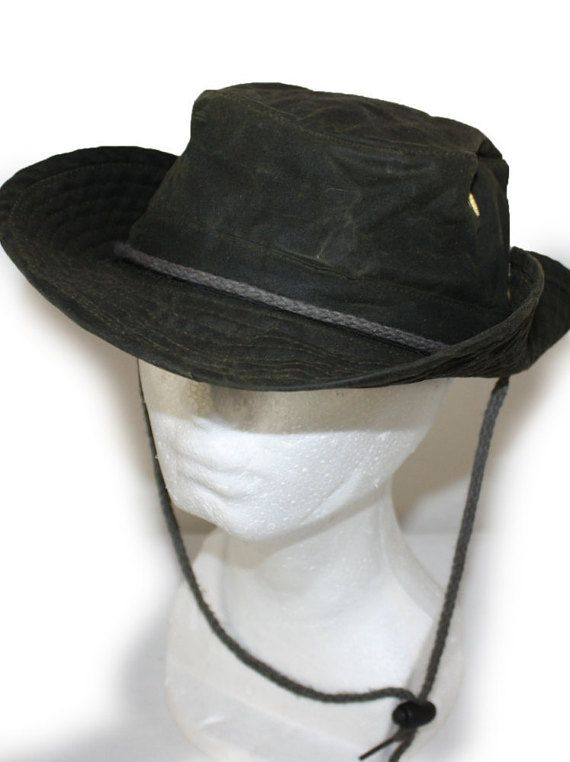 bef9eff57e0877 Vintage Mens Hat Waxed Cotton Outback Bush Hat Slouch Safari Fishing ...
