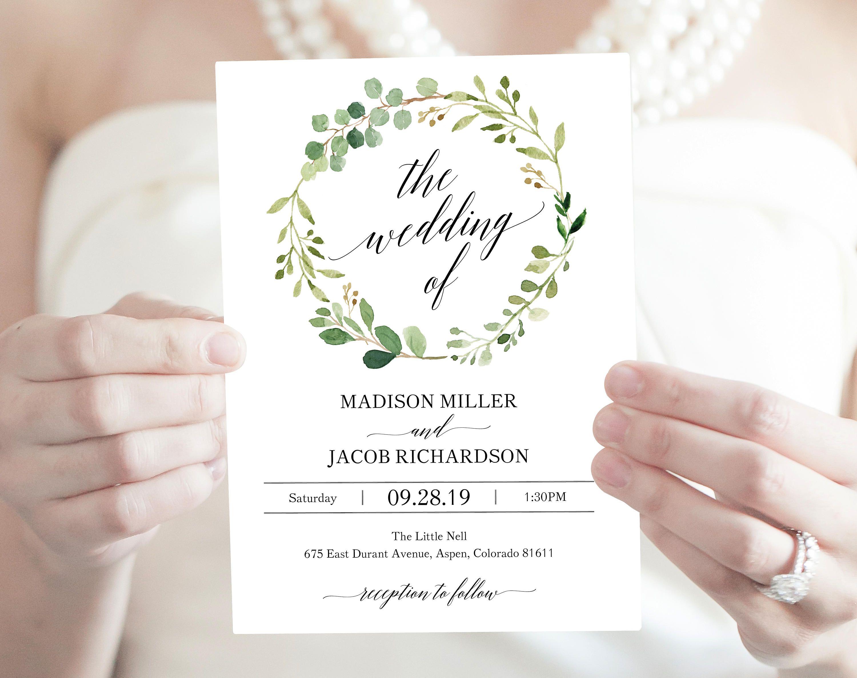 Greenery Wedding Invitation Set Invitation Template   Etsy   Wedding invitation  sets, Printable wedding invitations, Bridal shower invitations templates