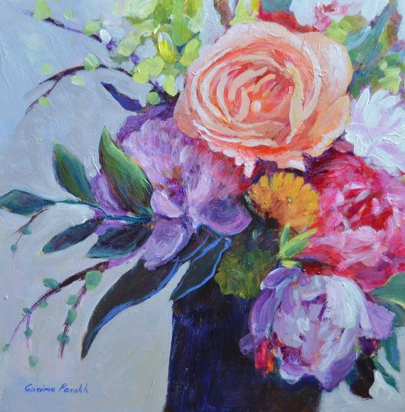Original Flower painting Rose bouquet, Peach Rose painting Small ...