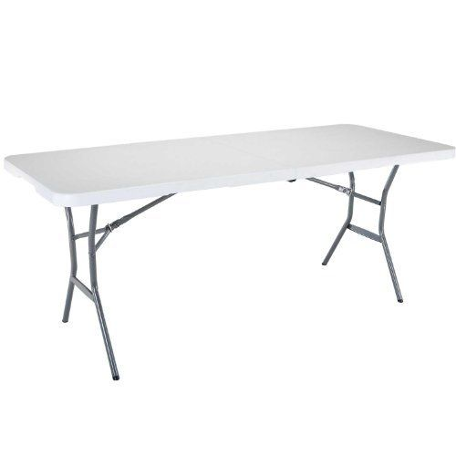 Forup 6ft Table Folding Utility Table Fold In Half Portable Plastic Picnic Best Offer Backyardequip Com In 2020 Folding Table Camping Table Contemporary Dining Room Sets