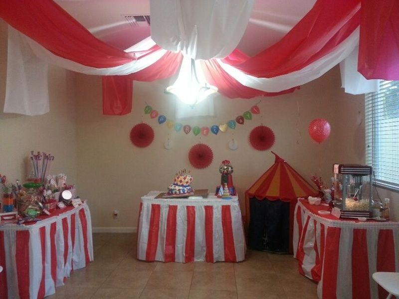 Carnival birthday party big top ceiling decor for inside barn asa 39 s 1st pinterest - Cheap circus decorations ...