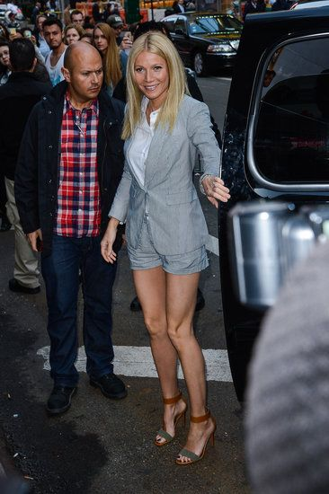 jean shorts and blazer