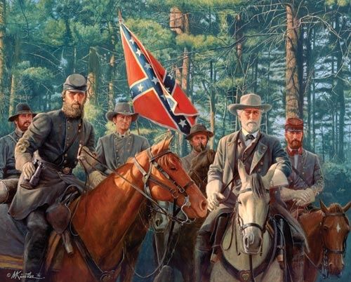 """This striking image by Civil War artist Mort Kunstler illustrates the model partnership that existed between Robert E. Lee and Stonewall Jackson. Item 488: 1000 piece jigsaw puzzle: Finished size 24"""" X 30"""""""