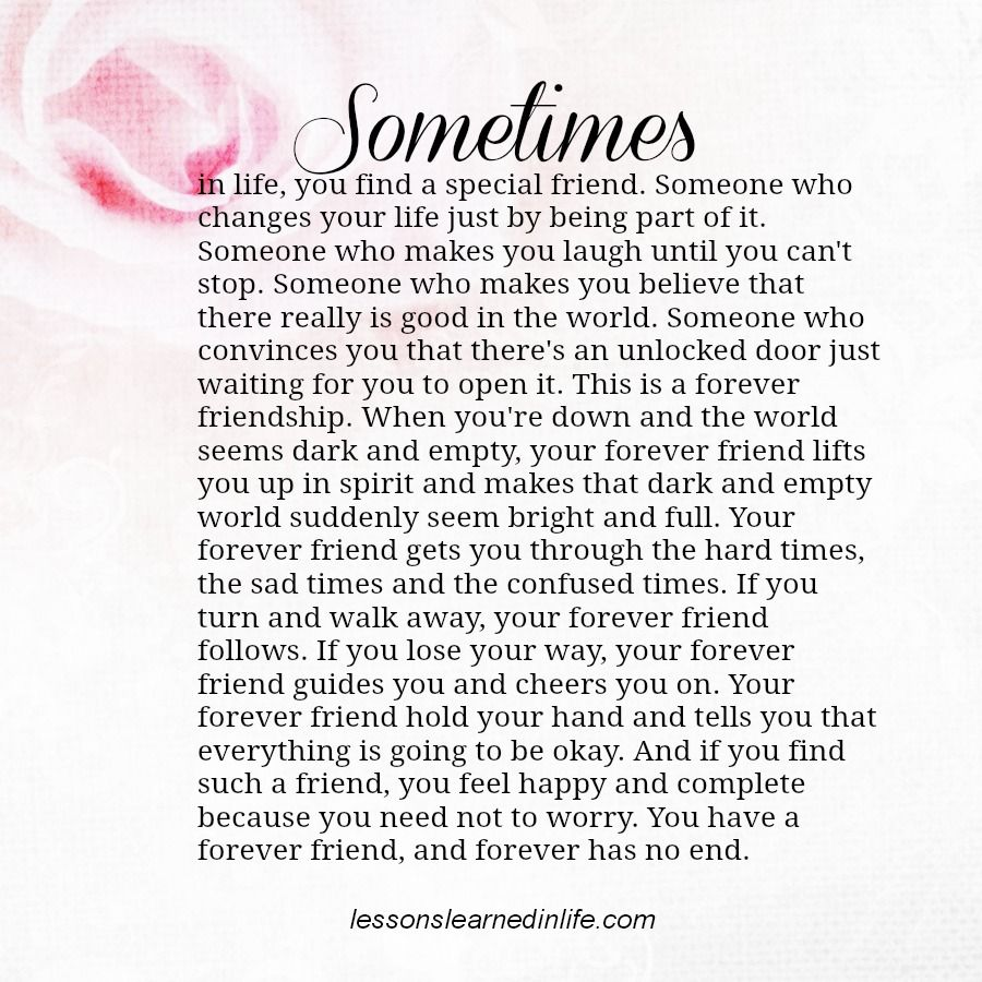 Sometimes in life, you find a special friend. Someone who
