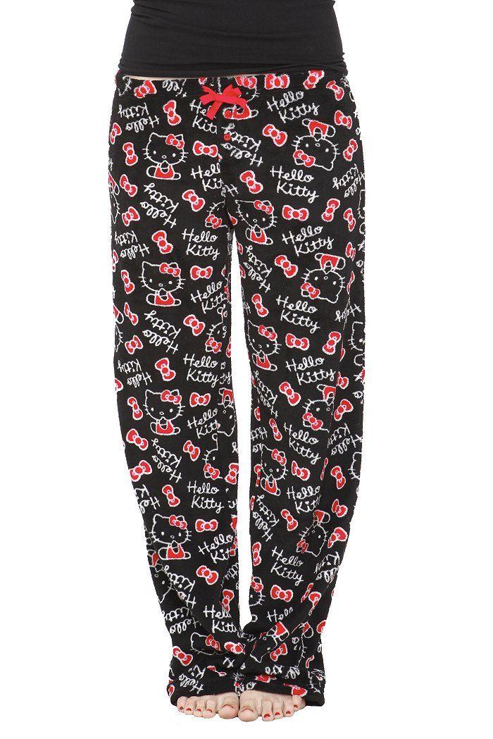 464a8fa23 Hello Kitty Black Plush Pajama Pants | *everything hello kitty ...