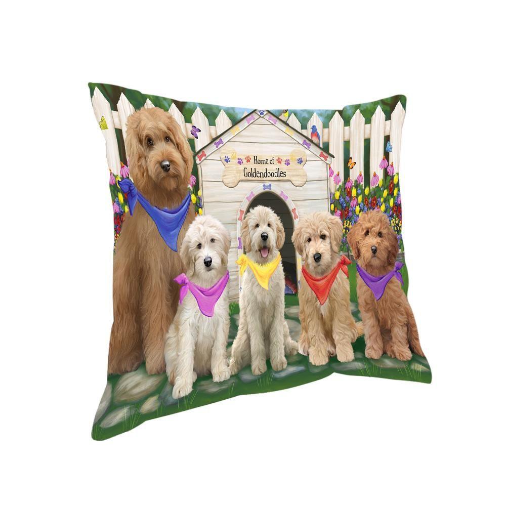 Spring Dog House Goldendoodles Dog Pillow PIL64980