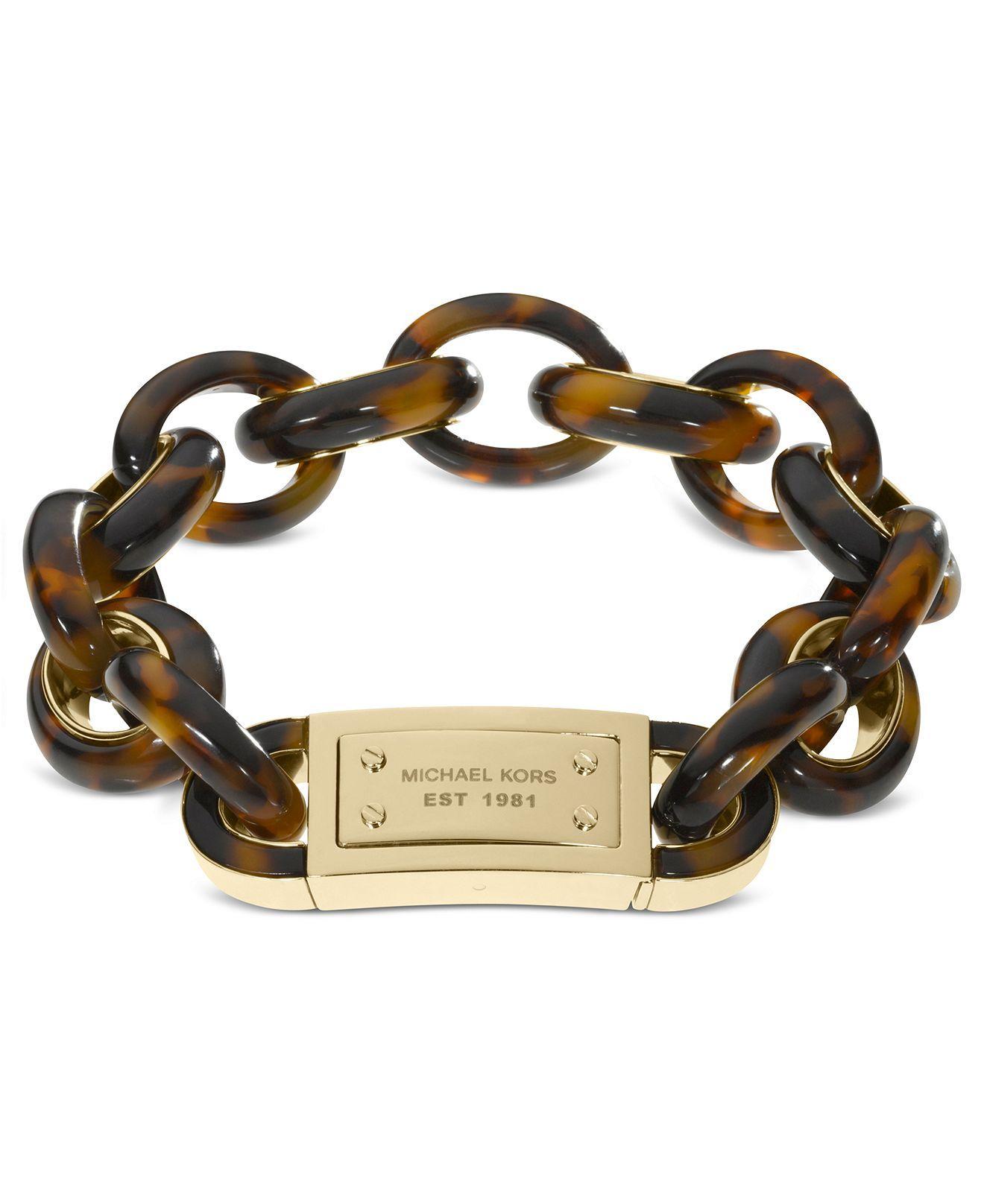 78e7d0c324571 Michael Kors Bracelet, Gold Tone Tortoise Link Bracelet - - Macy's ...