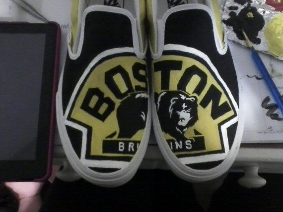 Boston Bruins Custom Vans by lizzmakes on Etsy, $90.50...Would love to have these with the Philadelphia Flyers on them