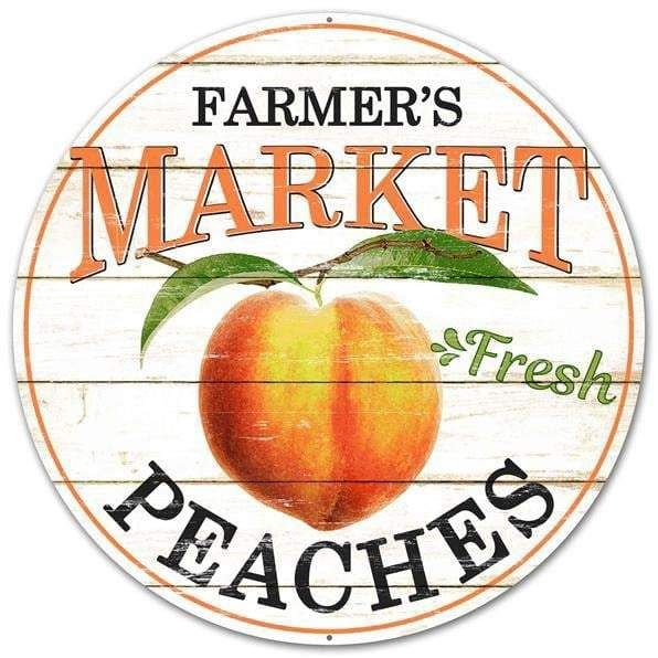 Farmers Market Peaches Round Sign Size: 12