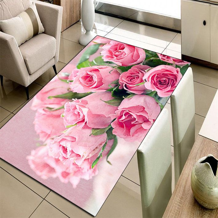 Else Carpet Pink Roses Non-Slip Rug Mat Room Mat Quality Area Rug ...