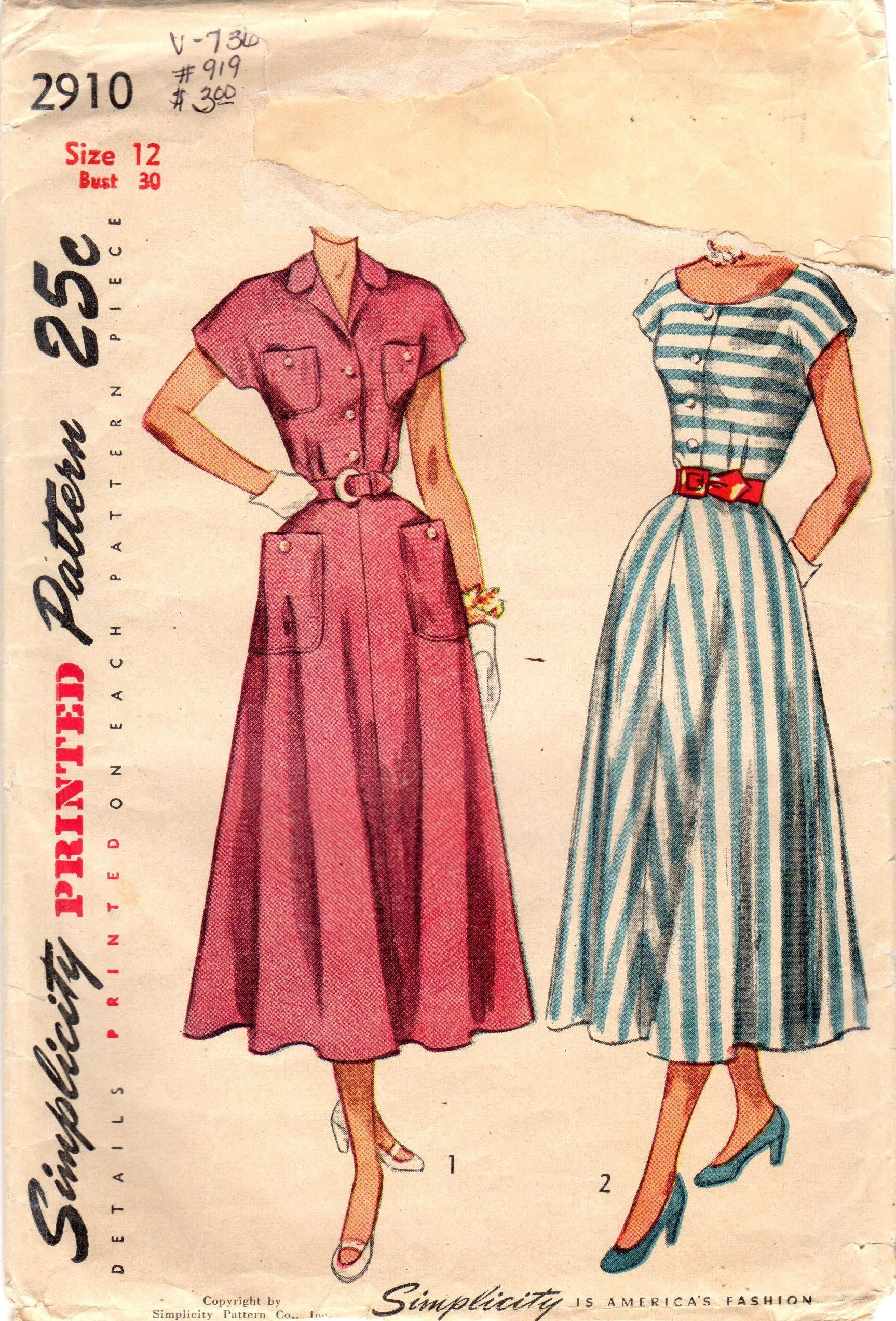 1940s Simplicity 2910 Vintage Sewing Pattern Misses Shirtwaist Dress Tea Length Dress Siz Retro Dress Pattern Tea Length Dress Patterns Vintage Dress Patterns